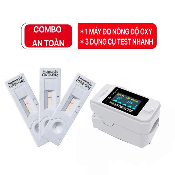 Bộ Combo y tế AN TOÀN (01 máy đo SPO2 + 03 dụng cụ test Covid-19)