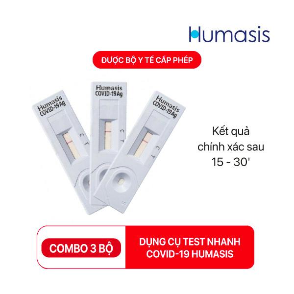 Kit test nhanh Covid-19 Humasis - Bộ Dụng cụ xét nghiệm nhanh (combo 3 bộ)